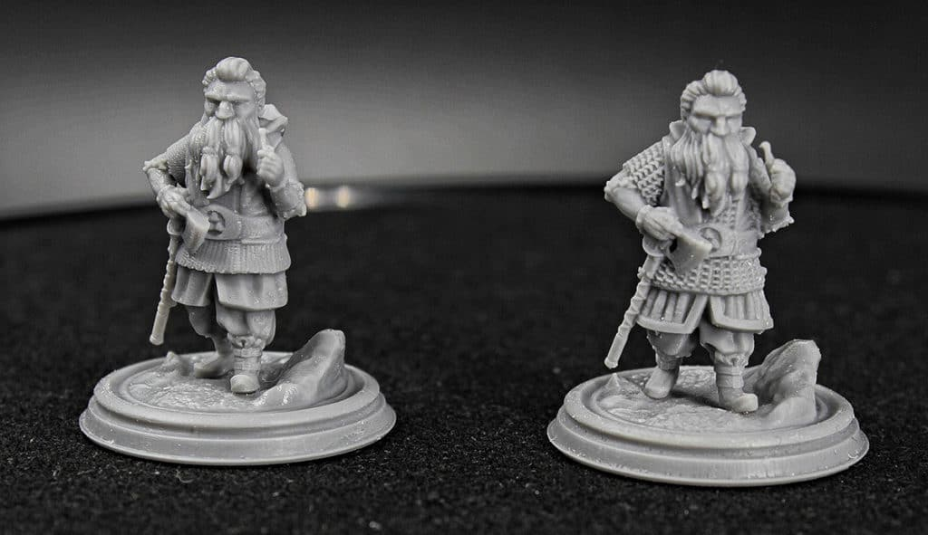 One bearded dwarf with an ax on his belt, set in two projections