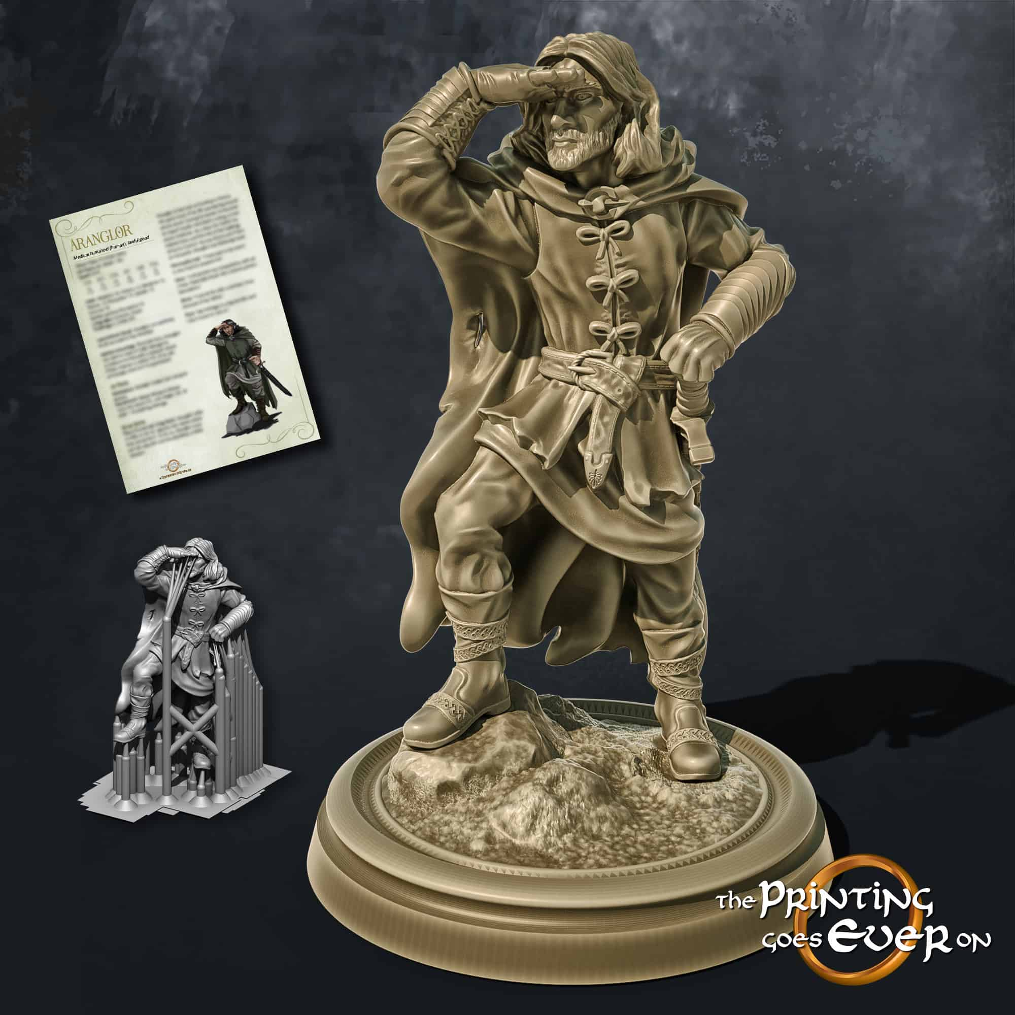 aranglor human ranger looking into the distance with sword 3d printable tabletop miniature from the printing goes ever on patreon welcome trove