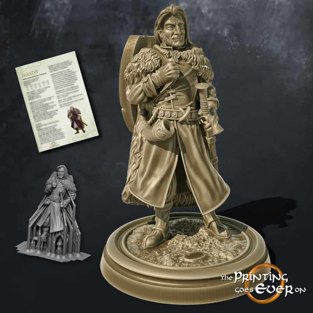 barazan human fighter knight captain with sword shield blowing horn 3d printable tabletop miniature from the printing goes ever on patreon welcome trove
