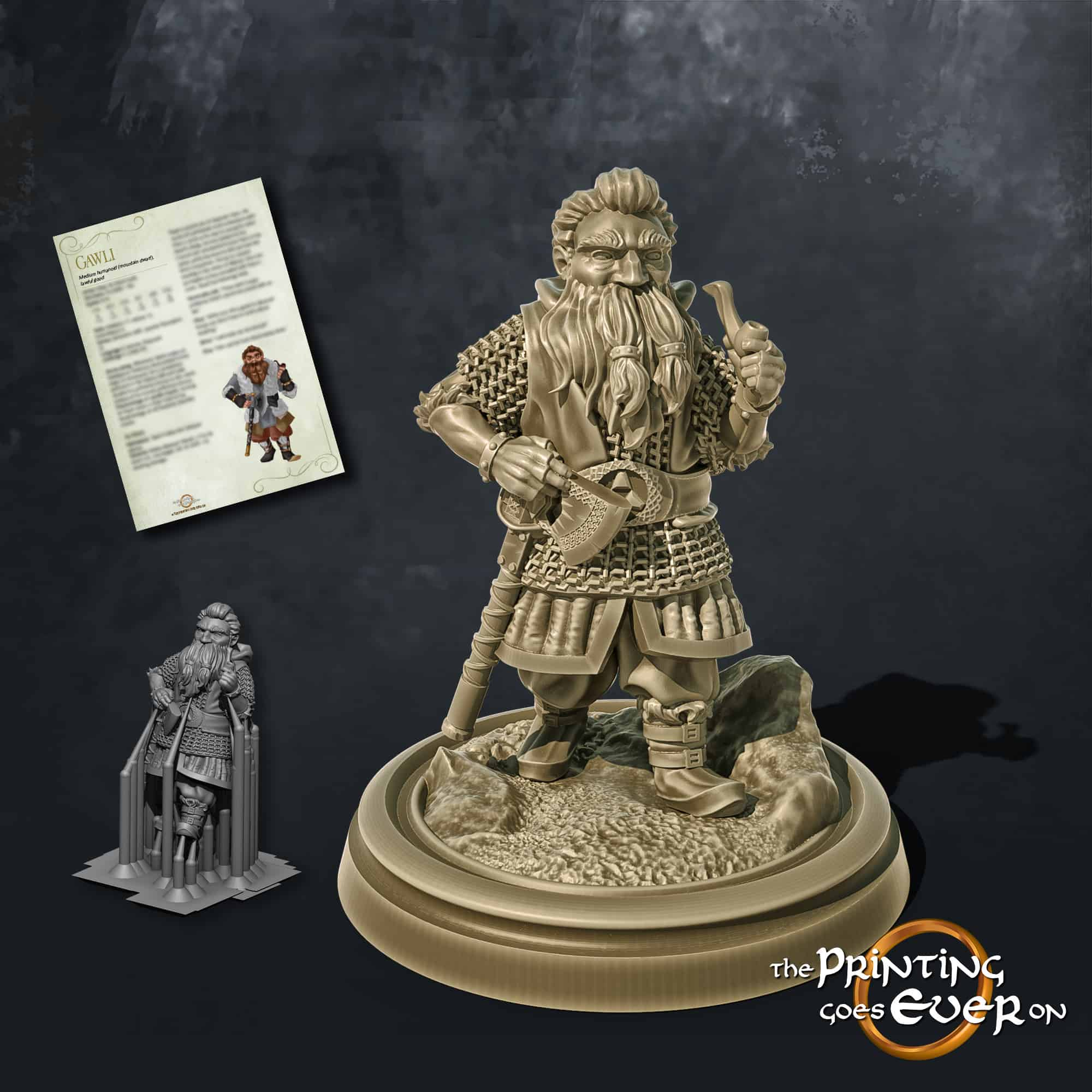 gawli dwarf fighter with axe and smoking pipe in chainmail walking 3d printable tabletop miniature from the printing goes ever on patreon welcome trove