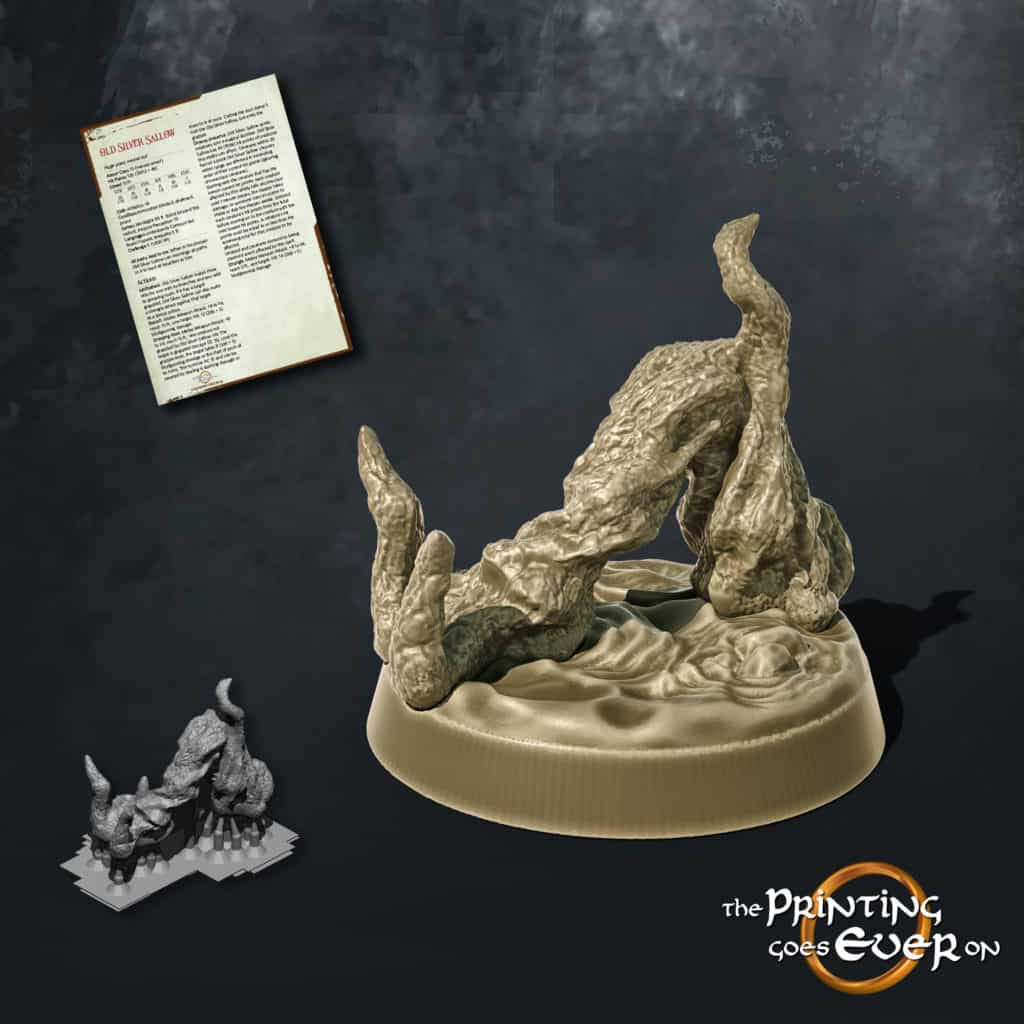 a root floating on water looking like a reaching arm 3d printable tabletop miniature from the printing goes ever on patreon august 2020 pack