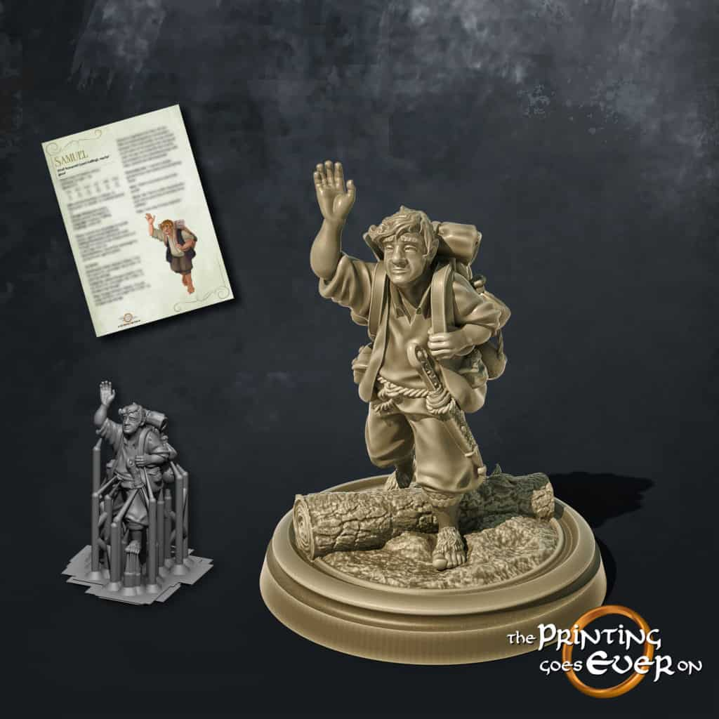 samuel halfling adventurer waving 3d printable tabletop miniature from the printing goes ever on patreon welcome trove