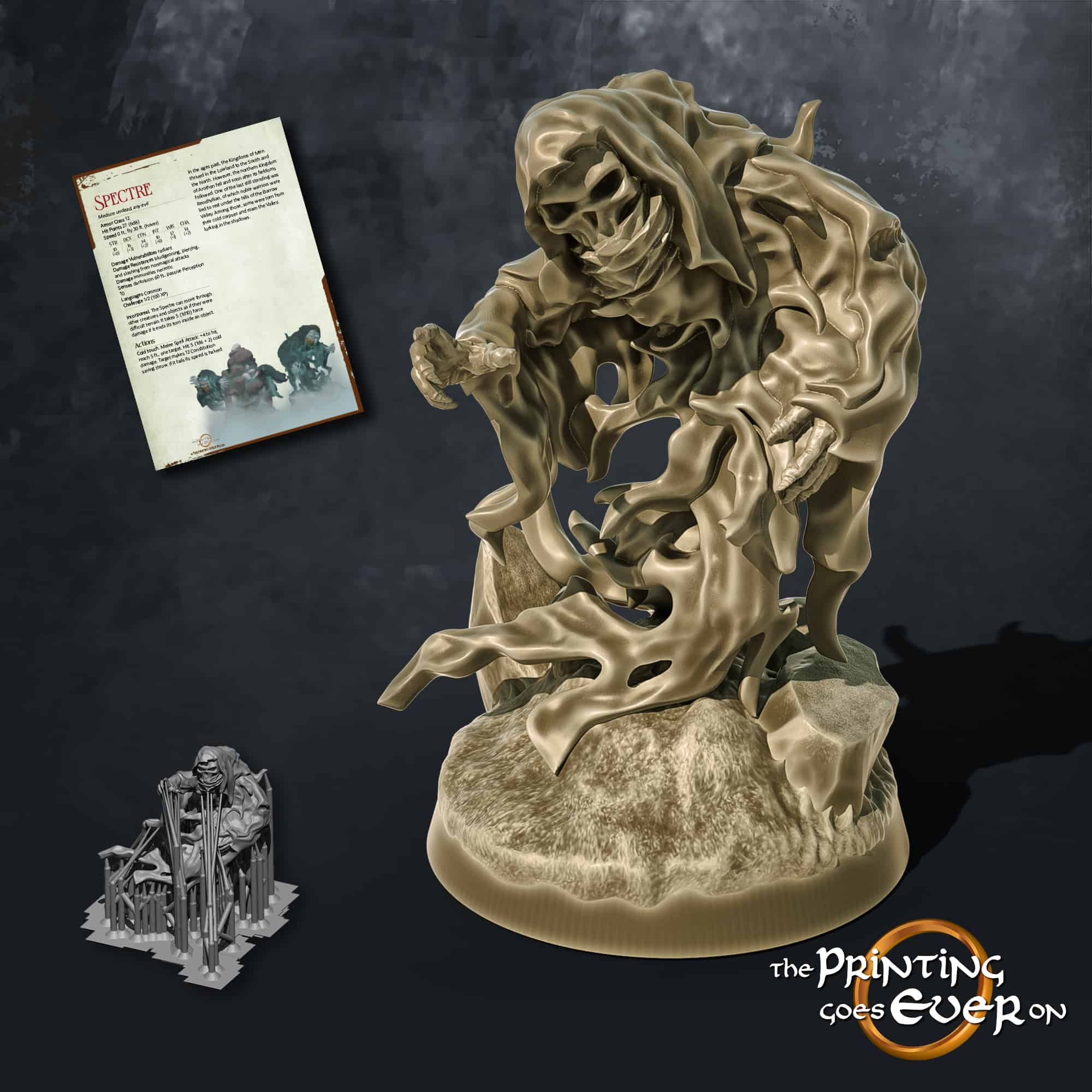 spectre reaching out on barrow 3d printable tabletop miniature from the printing goes ever on patreon august 2020 pack