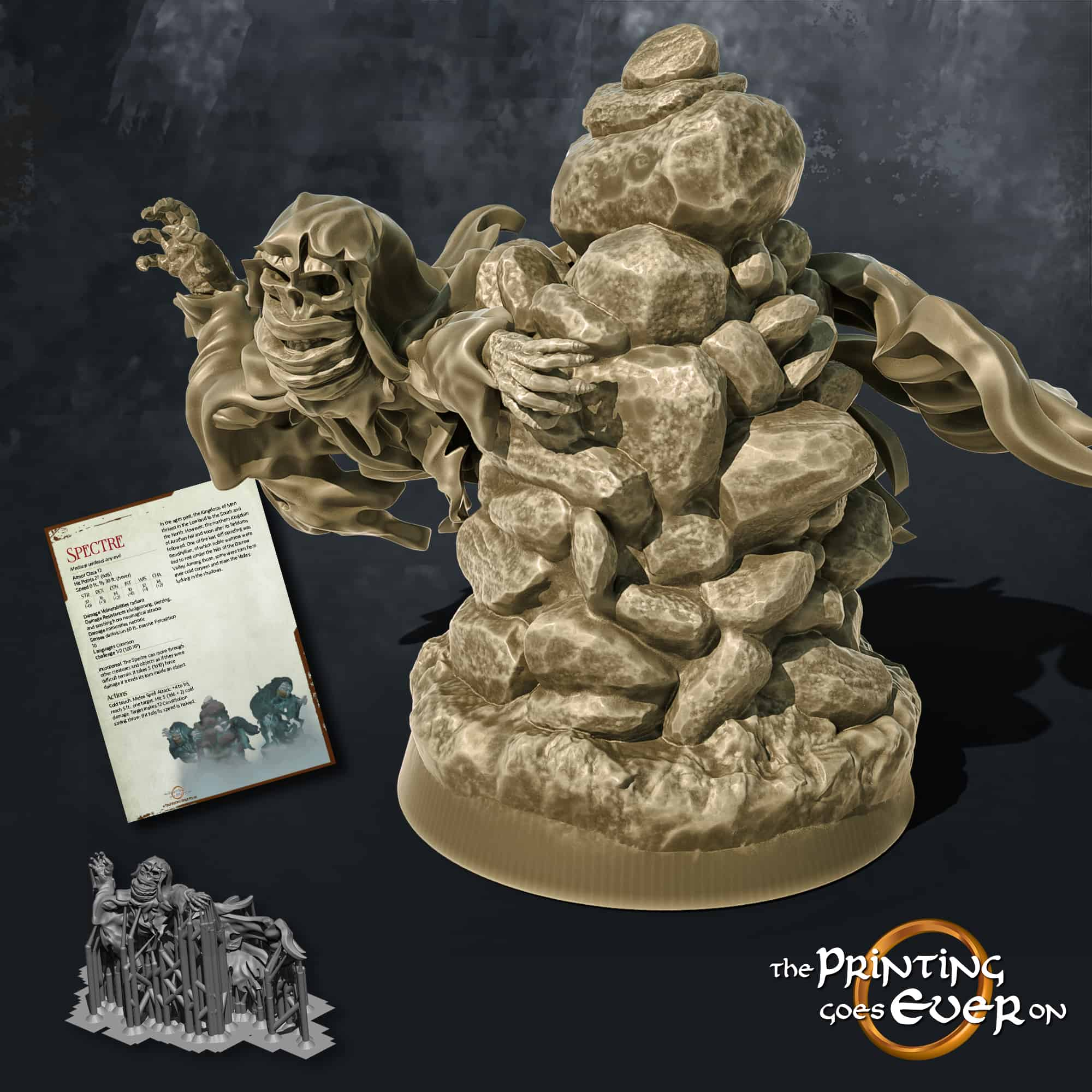 spectre ghost behind a rock cairn 3d printable tabletop miniature from the printing goes ever on patreon august 2020 pack