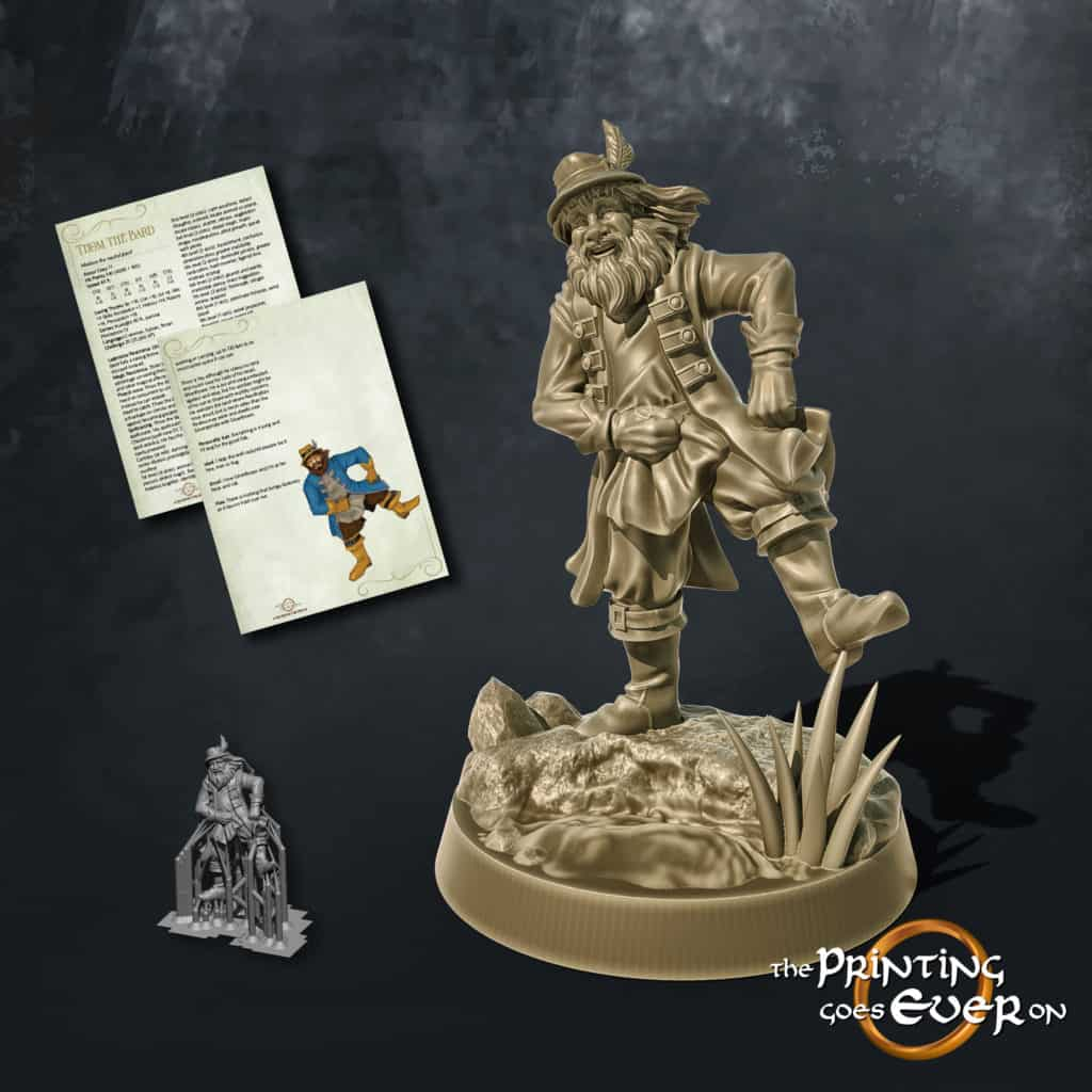 thom the bard happy dancing man in a hat with a feather 3d printable tabletop miniature from the printing goes ever on patreon august 2020 pack