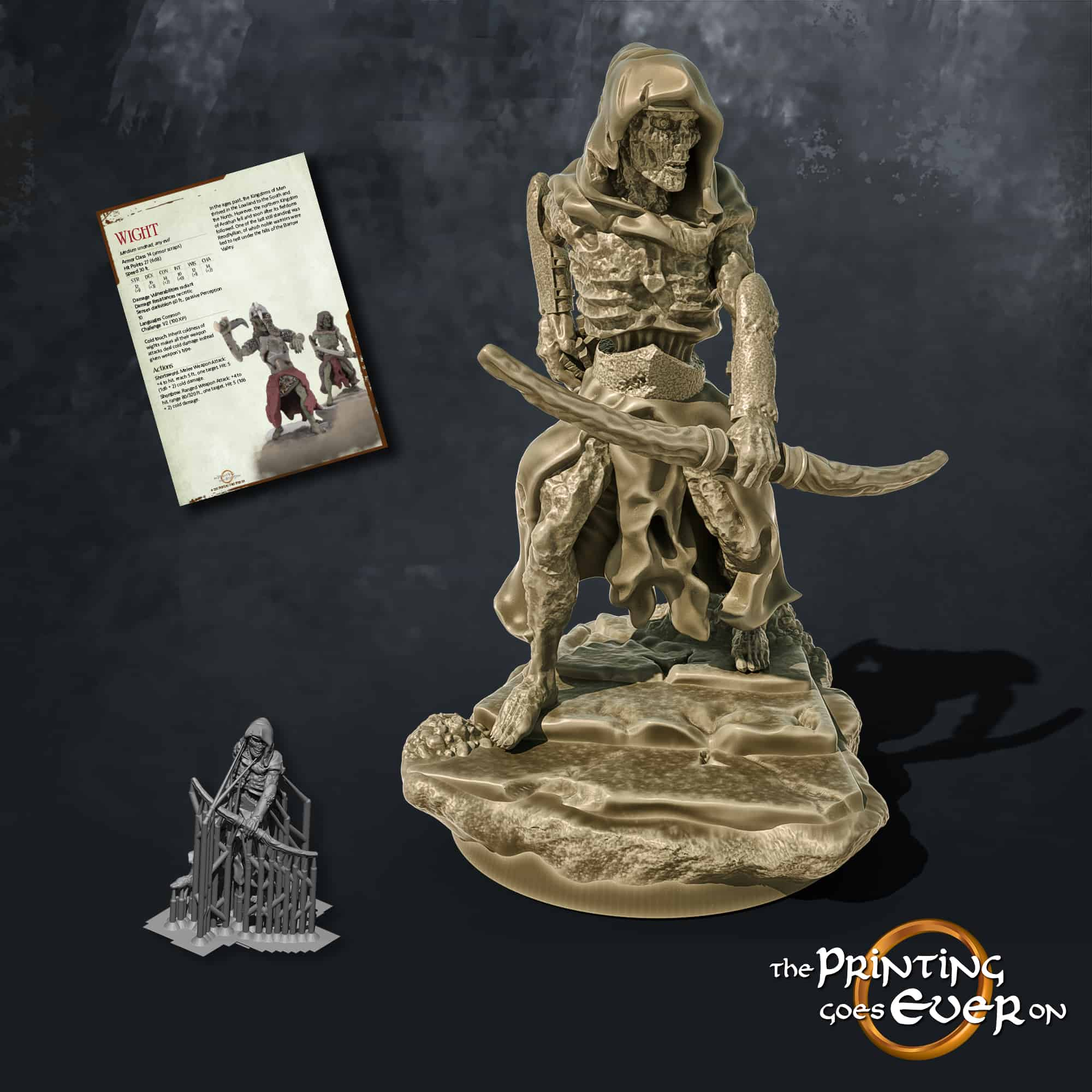 wight with bow 3d printable tabletop miniature from the printing goes ever on patreon august 2020 pack