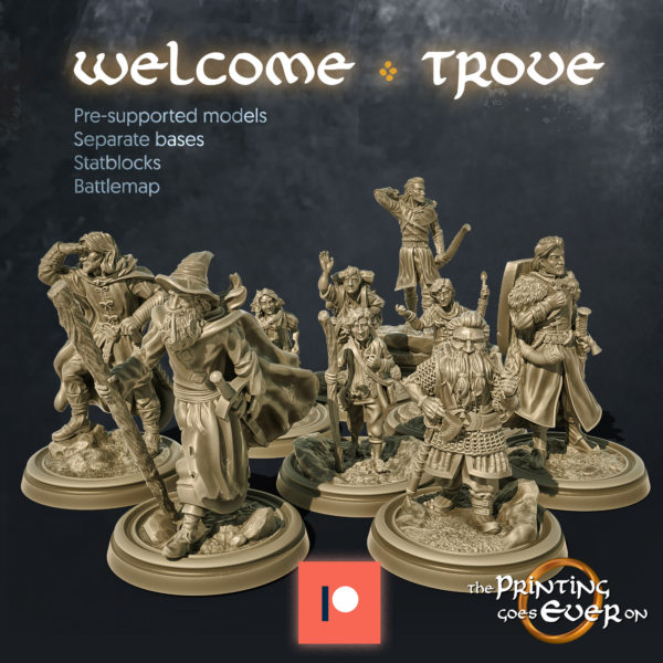 the printing goes ever on patreon welcome trove nine characters pack