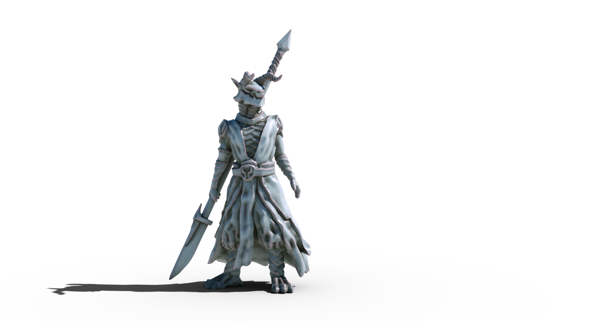 dragonborn fighter with glaive 3d printable tabletop miniature