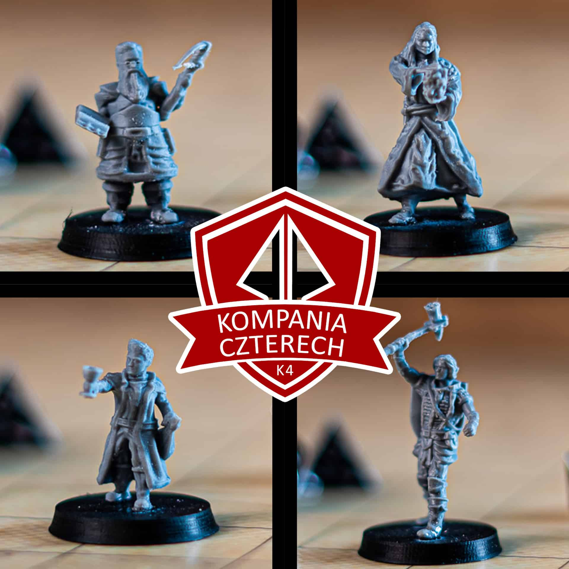 kompania czterech k4 fantasy adventurers party leonard human fighter with warhammer and shield 3d printable tabletop miniature photograph