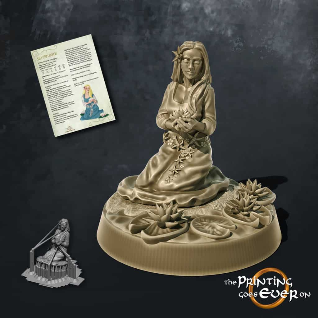 silverflower lady woman with water lillies 3d printable tabletop miniature from the printing goes ever on patreon august 2020 pack
