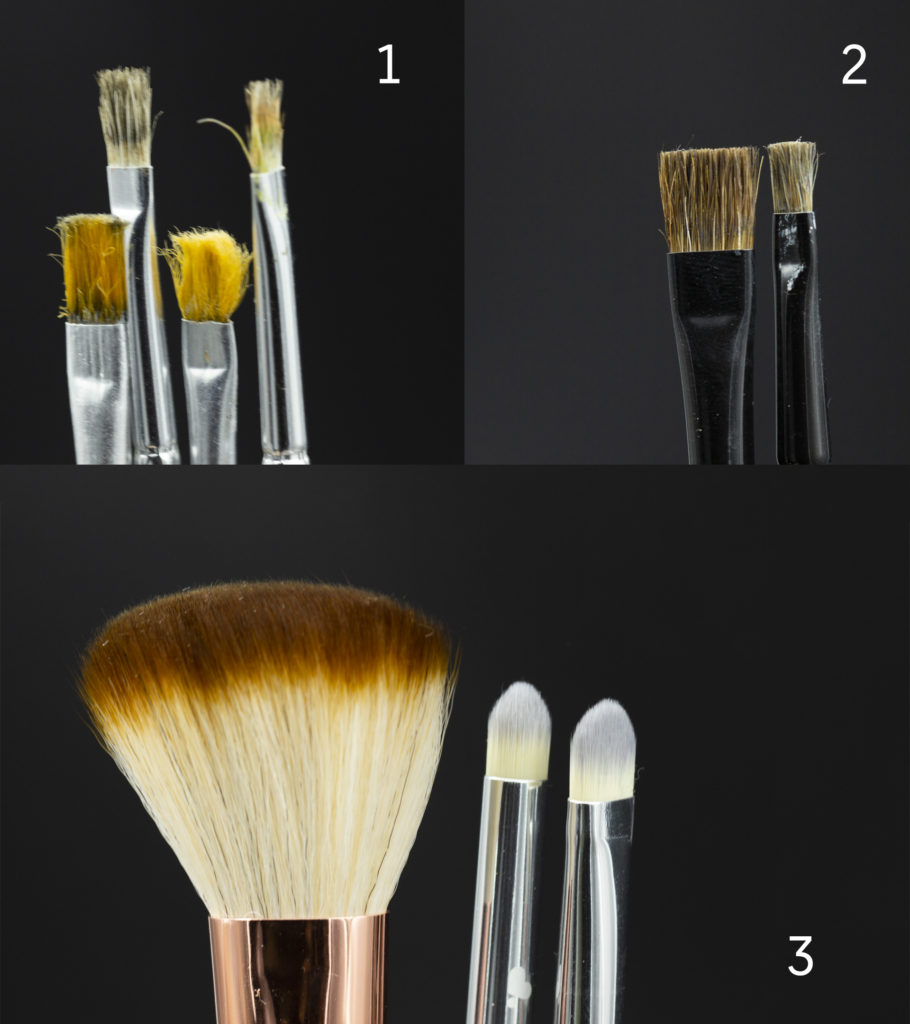 Three photos of different brushes good for drybrushing - worn out, proper, designed for it and often used cheap, makeup brushes.