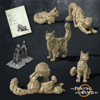 five cats playing with yarn walking stretching the printing goes ever on september 2020 patreon pack miniature