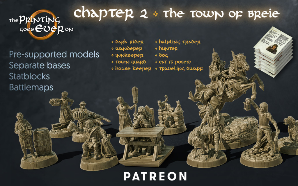 the printing goes ever on patreon chapter 2 the town of breie september 2020 release pack of 3d printable tabletop miniatures