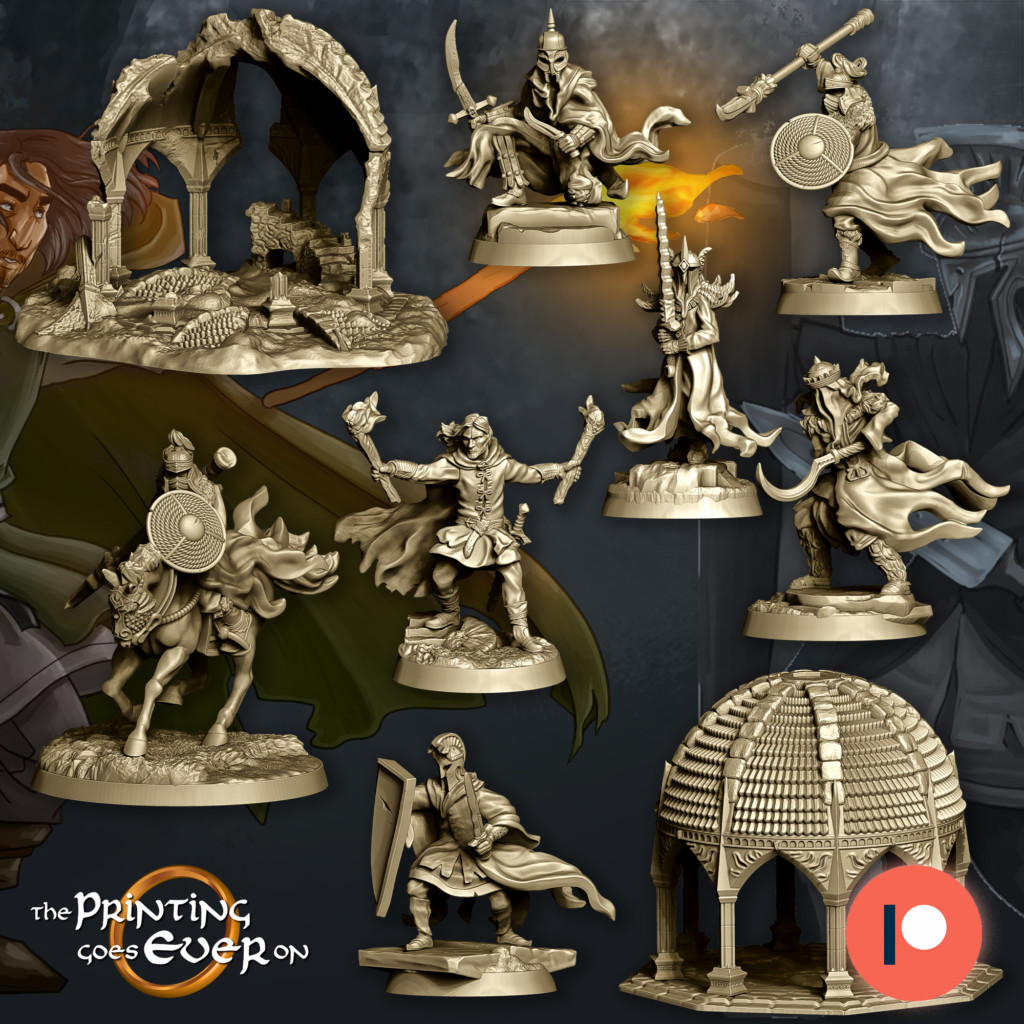 Printable STL models you can use in the contest. Wight, warrior, riders, buildings.