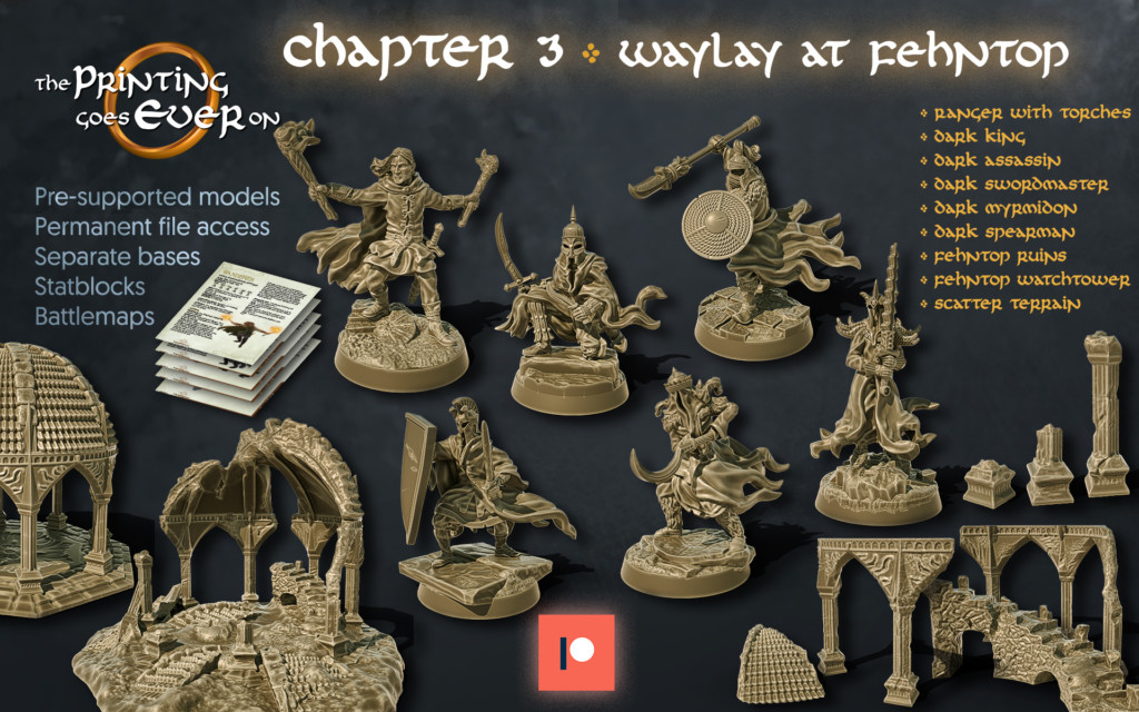 the printing goes ever on patreon october 2020 release featuring 6 high quality pre-supported 3d printable minaitures and supportless ruin dioramas