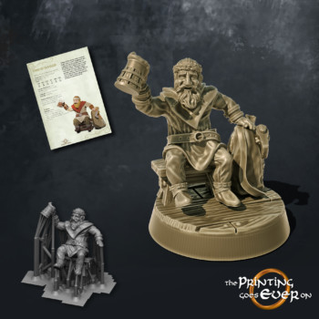 dwaf traveler with ale beer tankard rising a toast the printing goes ever on september 2020 patreon pack miniature