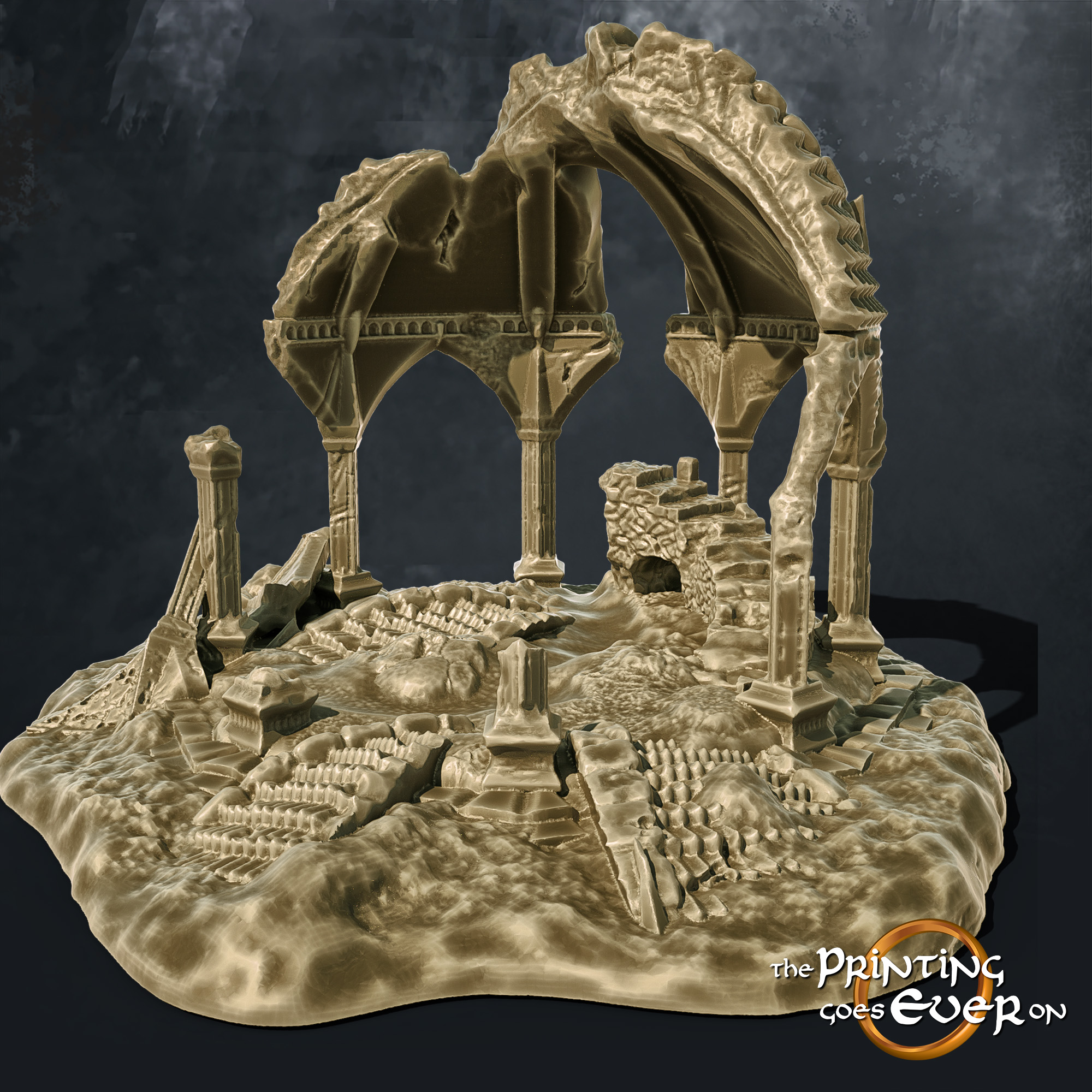 ruined tower temple columns stairs the printing goes ever on october 2020 patreon pack miniature terrain diorama