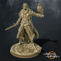 ranger with hawk familiar and sword 3d printable tabletop miniature