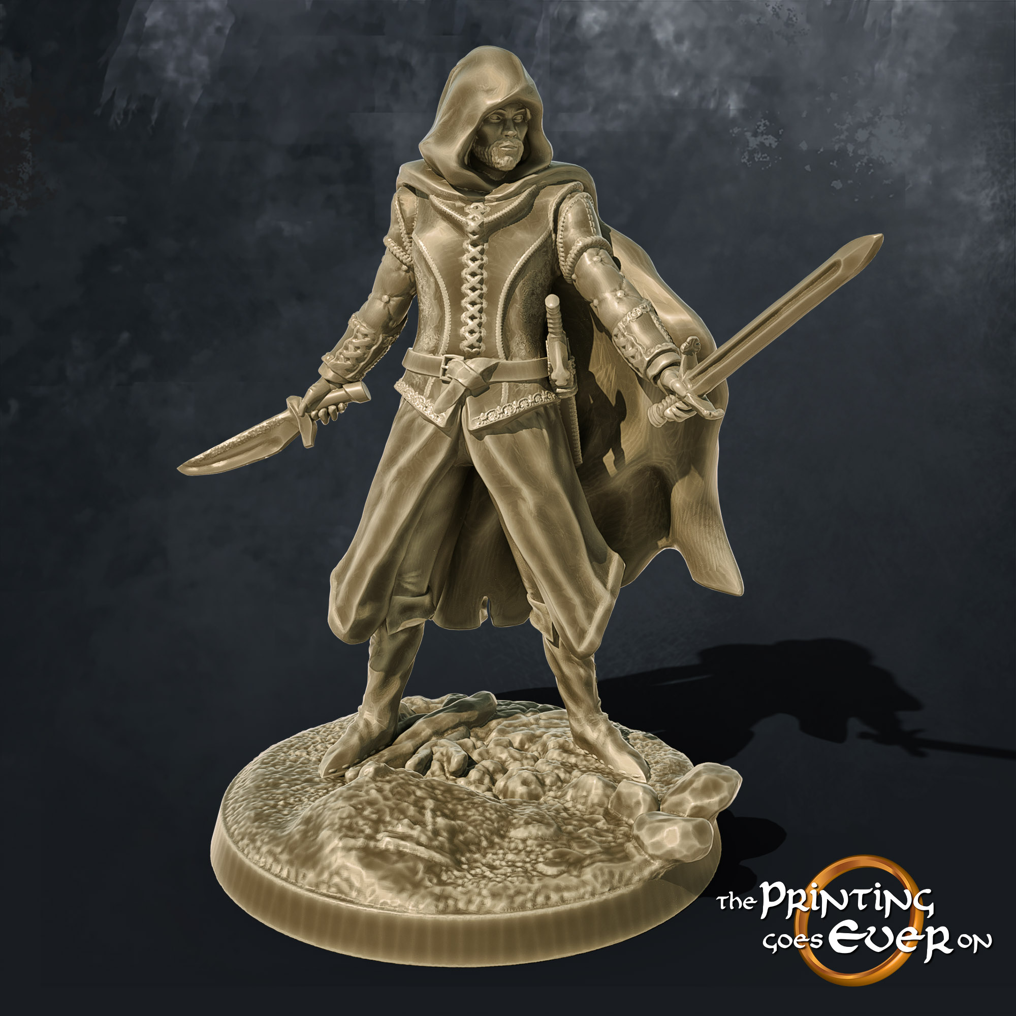 ranger in hood with sword and dagger 3d printable tabletop miniature