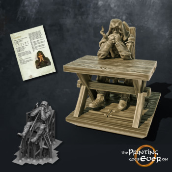 wanderer hooded ranger smoking pipe sitting behind table the printing goes ever on september 2020 patreon pack miniature
